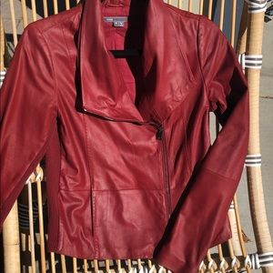 Vince red leather jacket